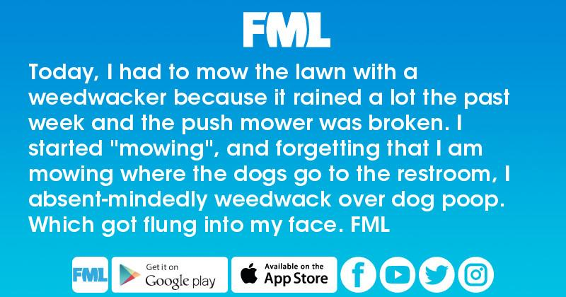 FML : Today, I had to mow the lawn with a weedwacker because