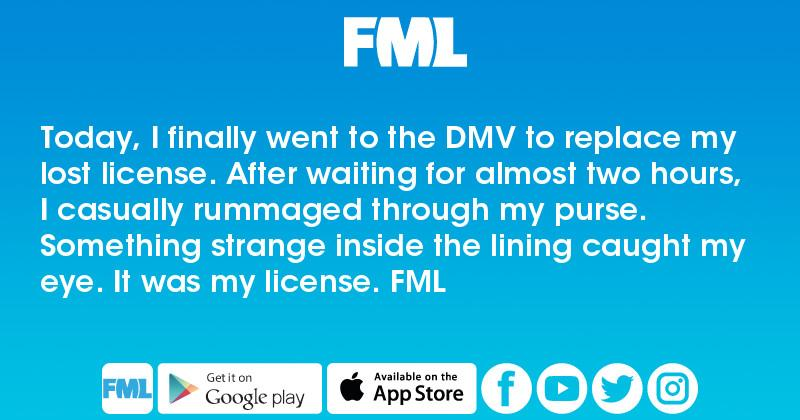 Today, I finally went to the DMV to replace my lost license